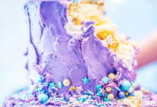 Photo session smash the cake adult version with a purple cake