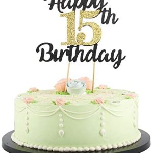 15th birthday party decorations LVEUD Happy Birthday Cake Topper