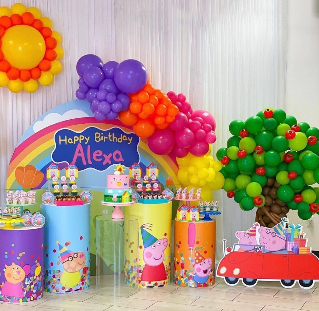 ideas with balloons for peppa pig party