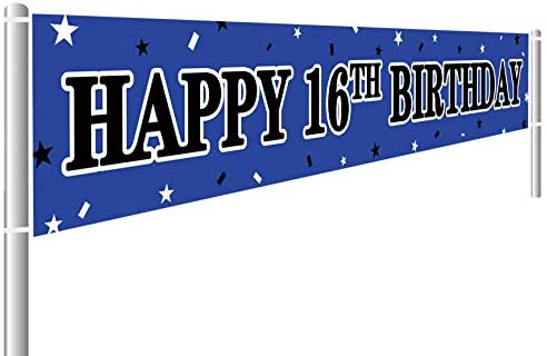 16th birthday party decorations Large Happy 16th Birthday Banner