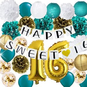 16th birthday party decorations Sweet 16 Birthday Decorations Teal
