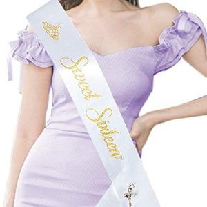 16th birthday party decorations Sweet 16 Sash with Brooch