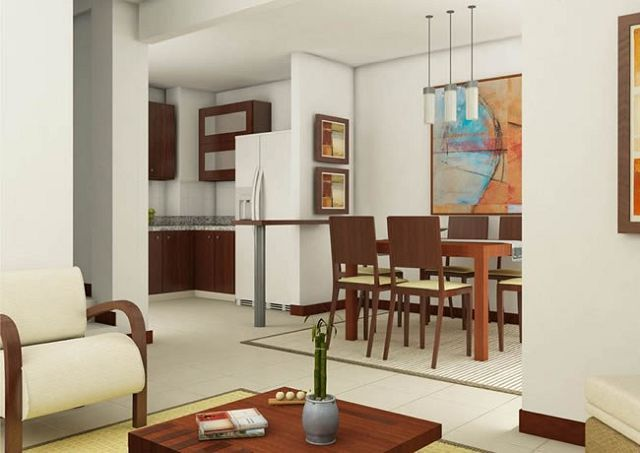 Decoration of living room kitchen and dining room together