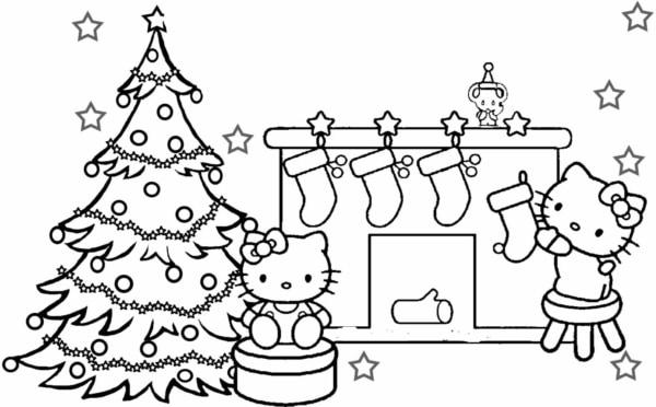 Christmas Hello Kitty coloring page