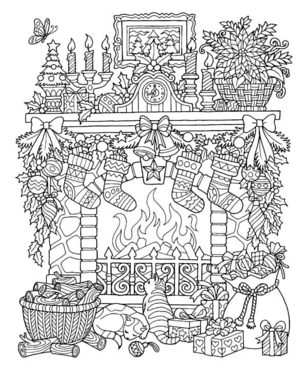 christmas with fireplace coloring page