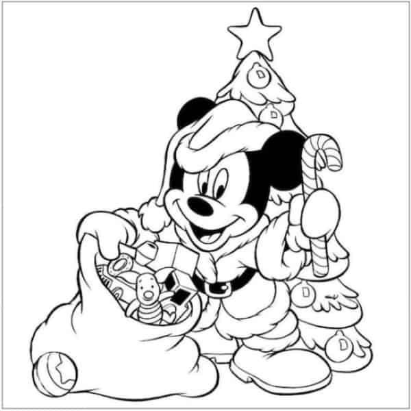 Mickey Christmas coloring page