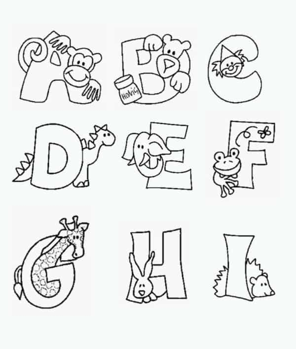 coloring pages and alphabet