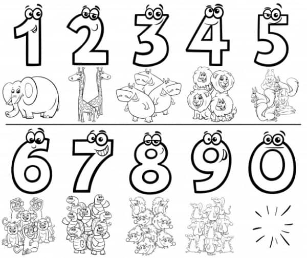 simple math activity with numbers for coloring