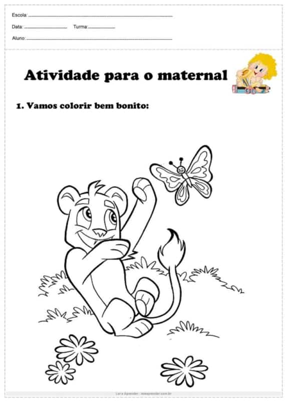 simple coloring page in nursery school
