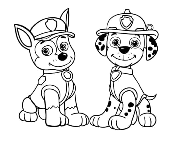 canine patrol drawing to print and paint