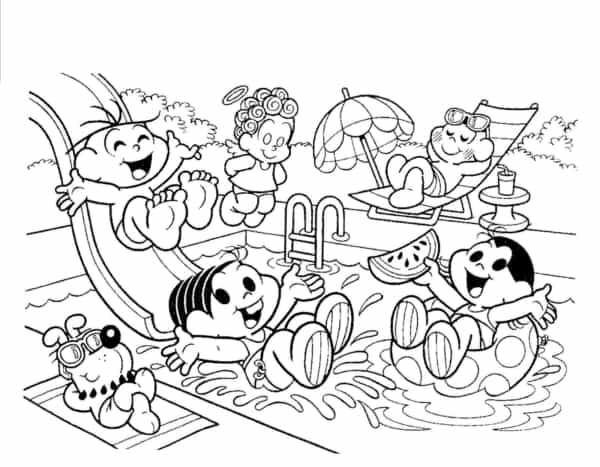 Monica's gang at the pool coloring page