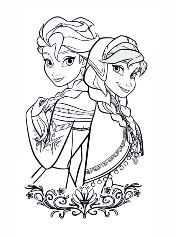 Anna and Elsa coloring page