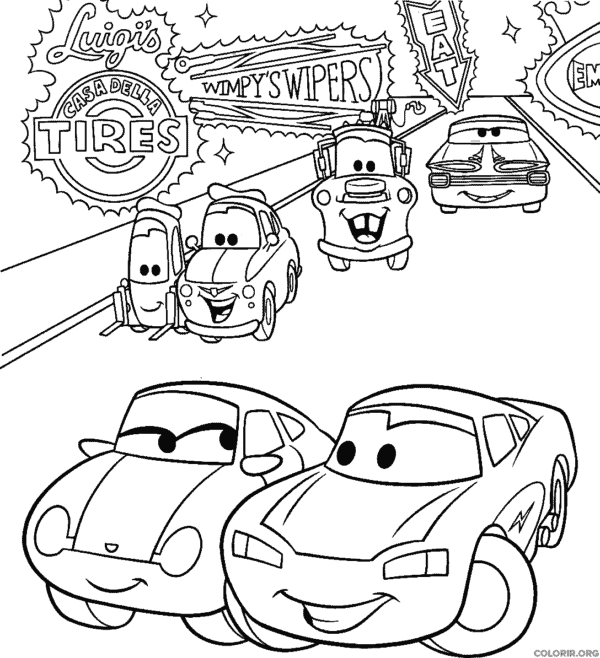 drawing movie cars to paint