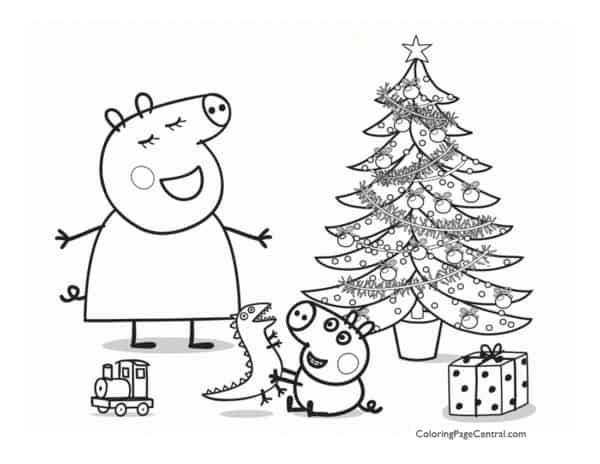 Peppa Pig Christmas coloring page