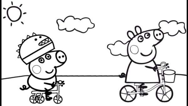 Peppa Pig and George coloring page