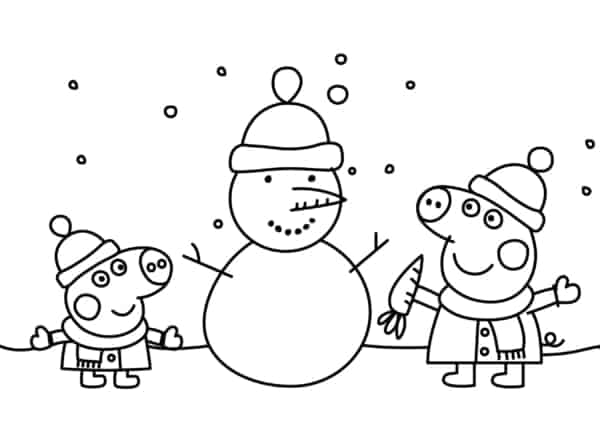Peppa Pig in the snow coloring page