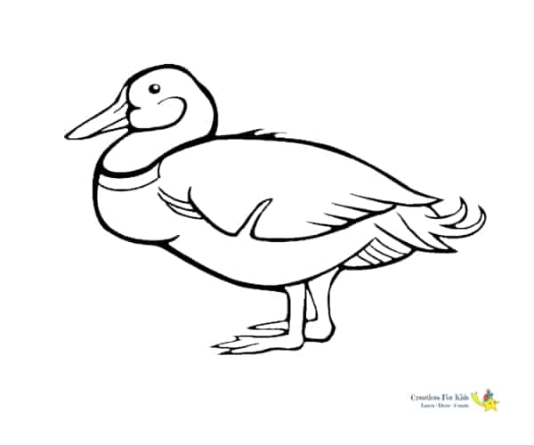 simple duck drawing to print