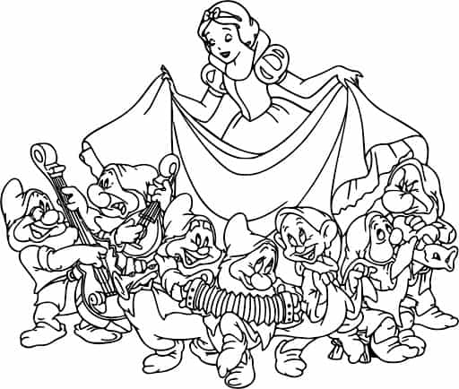 coloring page of Snow White dancing with years