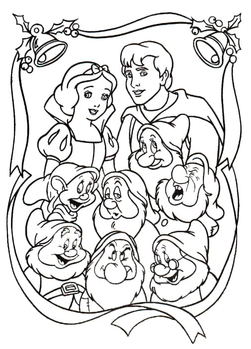 Snow White Christmas with 7 years coloring page
