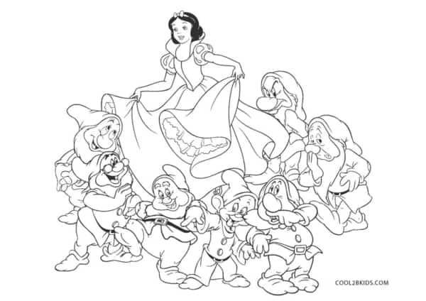 coloring page to print and print Snow White with seven years