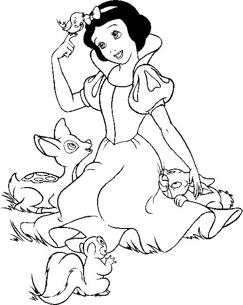 Snow White with forest animals