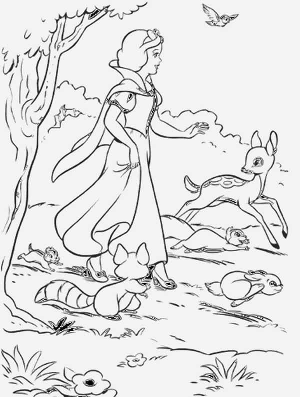 coloring page of Snow White with animals