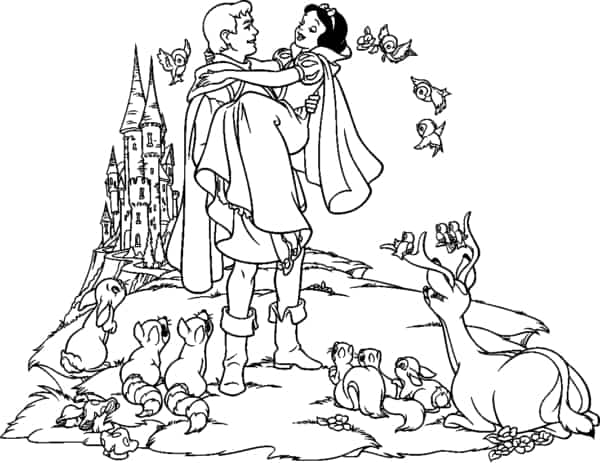 Snow White with prince and animals to color