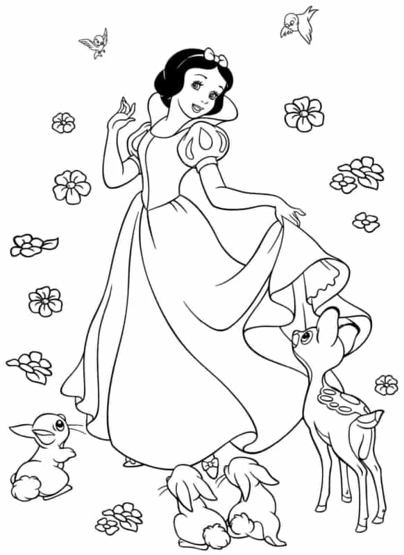 Snow White with animals coloring page to print and color