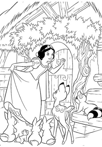 drawing to paint Snow White with animals