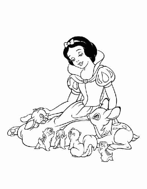 Snow White coloring activity with animals