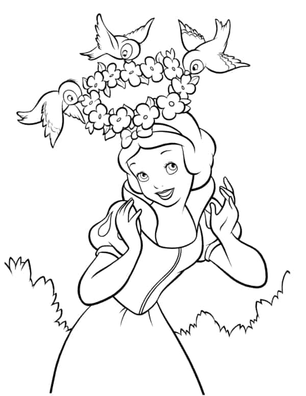 Snow White coloring page with birds