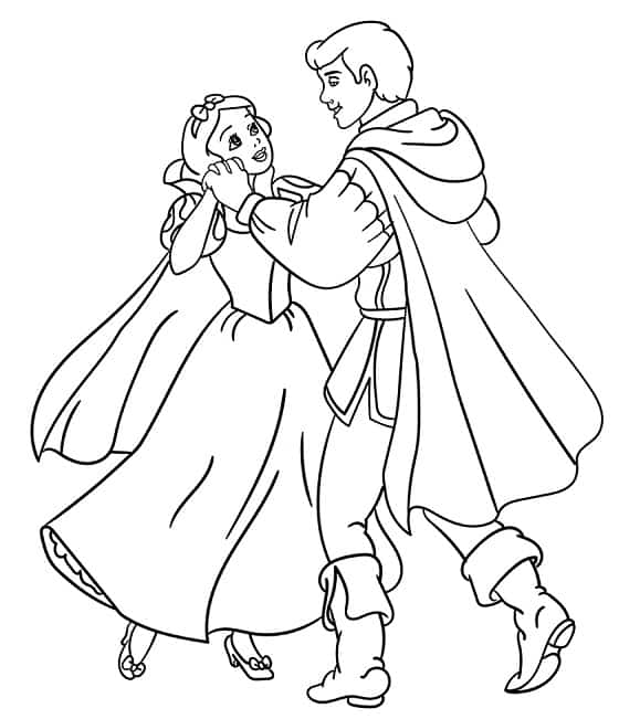 coloring page of Snow White dancing with the Prince