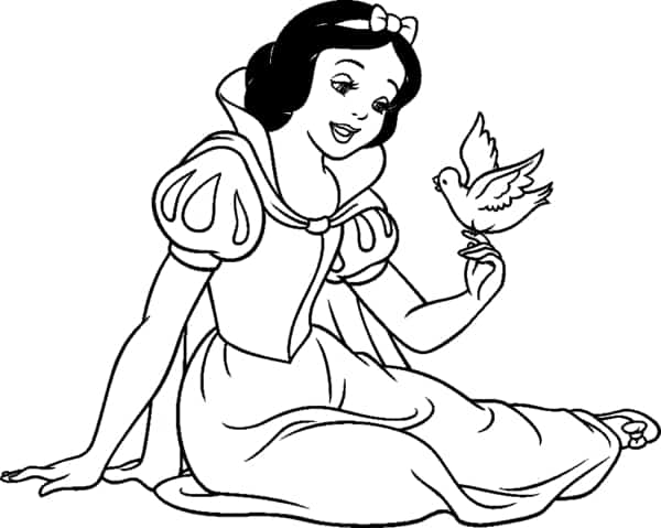 Snow White with a bird coloring page