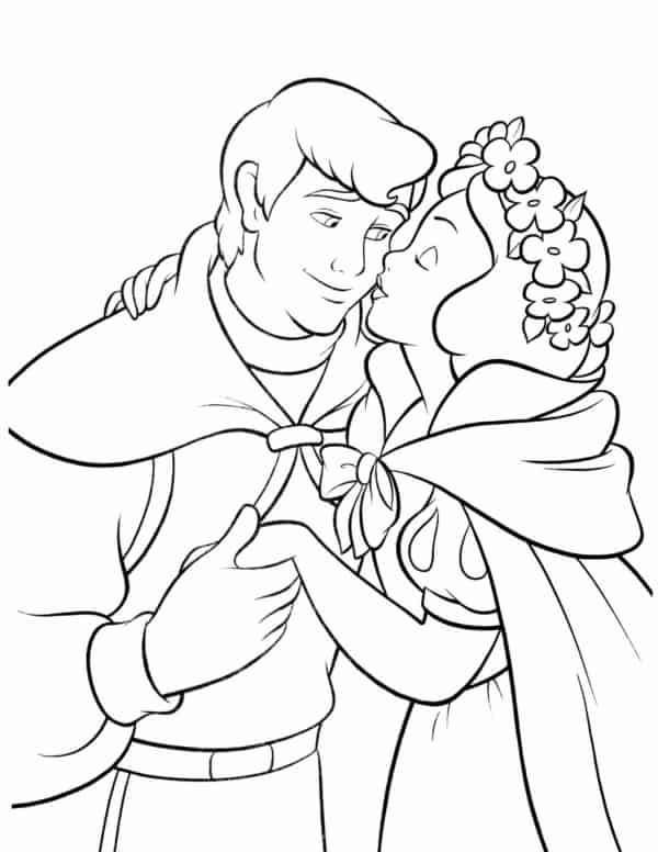 Snow White kissing the prince coloring page