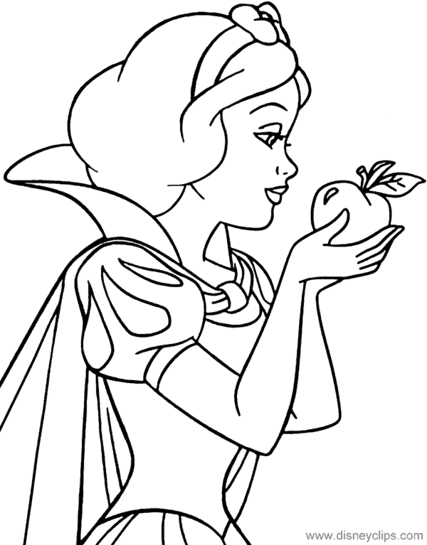 coloring page of Snow White with stretcher