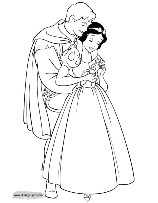 40 Snow White with prince coloring page
