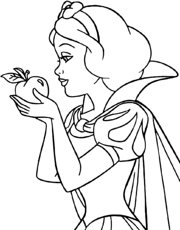 Snow White holding a stretcher