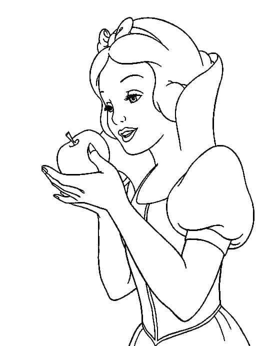 coloring page of Snow White with stretcher in hand