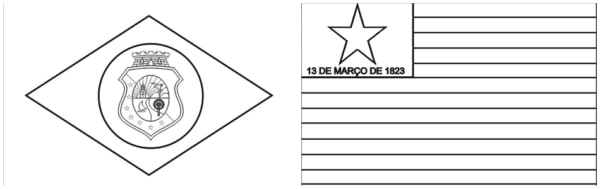 flag of Ceara and Piaui for coloring