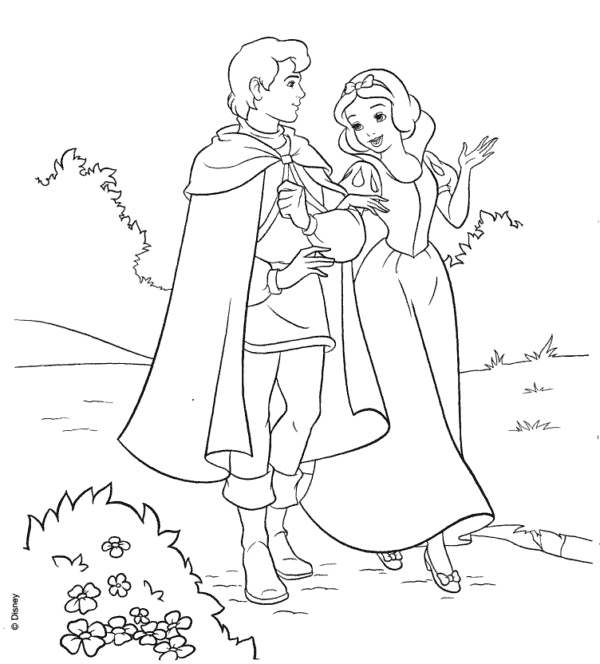 disney princess with prince coloring page