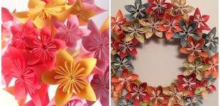 Decoration with origami flowers
