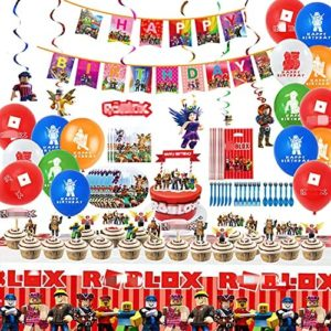 roblox birthday party decorations 93Pcs Robot Party Supplies Set