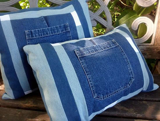 Beautiful pillow with jeans