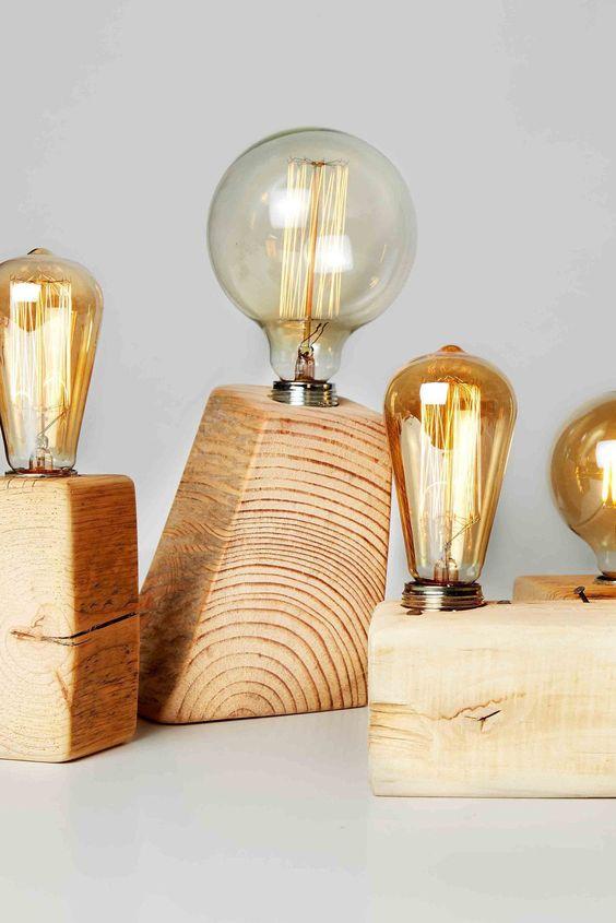 Vintage luminaires in wooden blocks