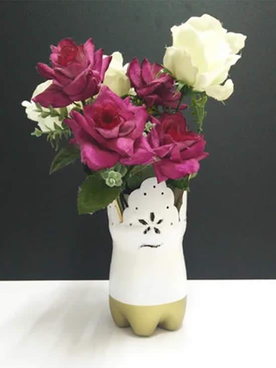 Arrangement of flowers with PET bottle
