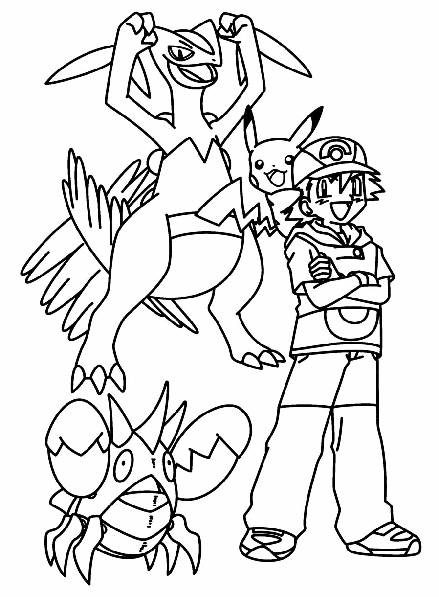 Drawing to paint by Pikachu and Ash