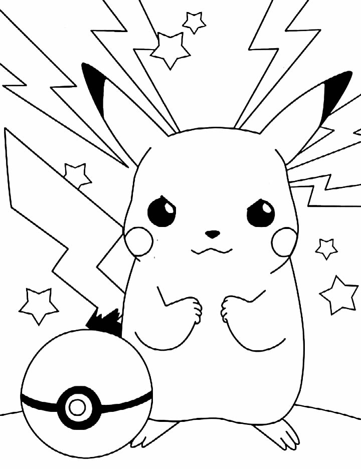 Pikachu fighting to color