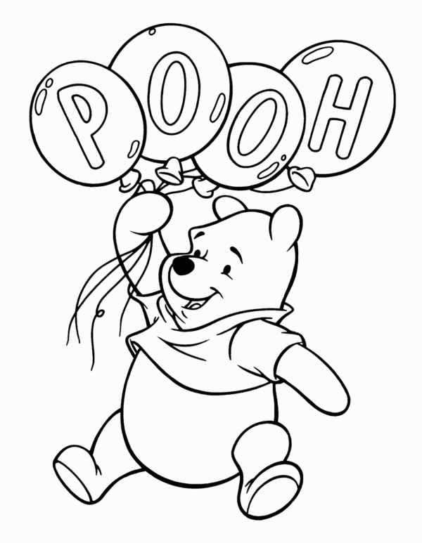 teddy pooh with balloons