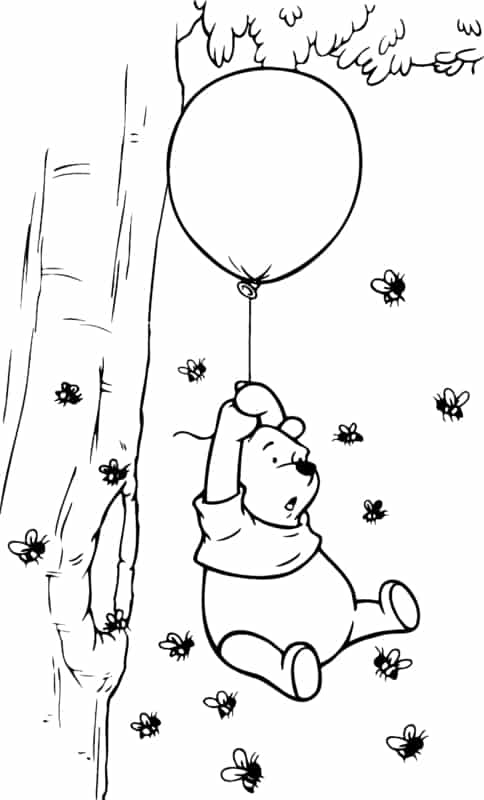 teddy pooh with bees coloring page