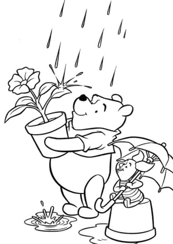pooh with piglet in the rain